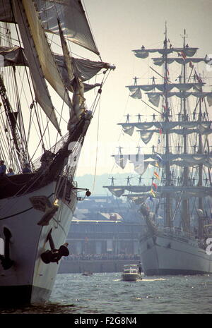 AJAX NEWS PHOTOS - JULY,1989. ROUEN, FRANCE - TALL SHIPS ON THE SEINE - VOILE DE LA LIBERTE - THE GERMAN SAIL TRAINING - Stock Photo