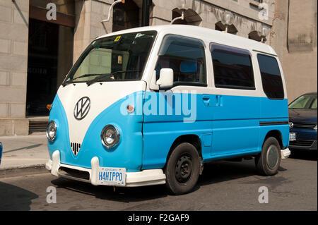 Volkswagen Downtown La >> Blue Volkswagen Type 2 camper van with Uruguay numberplate in The Stock Photo: 74180844 - Alamy