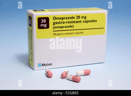 Box of 20 MG tablets of Omeprazole to help in the treatment of stomach ulcers-Gastro-resistant - Stock Photo