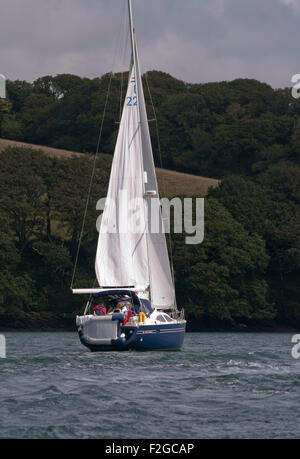 Rear View Of A yacht Under Sail On The River Fal Cornwall England UK - Stock Photo