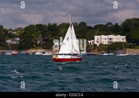 Sailing Yacht Under Sail On THe River Fal Cornwall England UK - Stock Photo