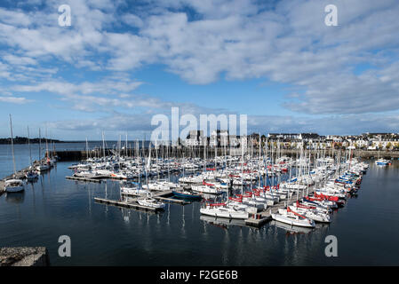 Sailing boats in marina / yacht basin at Concarneau, Finistère, Brittany, France - Stock Photo