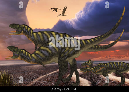 Parental Aucasaurus dinosaurs defend their youngsters from a passing predator in their territory as Zhenyuanopterus - Stock Photo