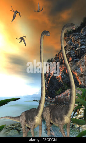 Dorygnathus dinosaur reptiles fly over two Omeisaurus dinosaurs walking along a steep cliff. - Stock Photo