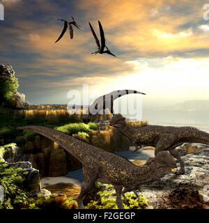 Stegoceras dinosaurs eat the vegetation along a rocky coast as Pteranodon reptiles fly overhead. - Stock Photo