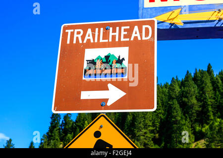 Historic Trailhead sign in the city of Wallace and set in the Silver Valley mining district of Idaho - Stock Photo