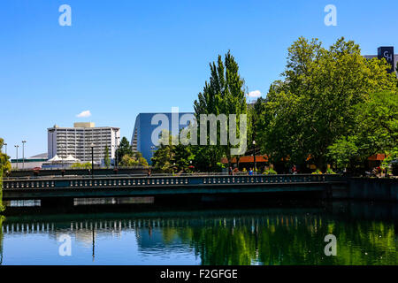 Riverfront Park and a view of the City of Spokane in Washington State - Stock Photo