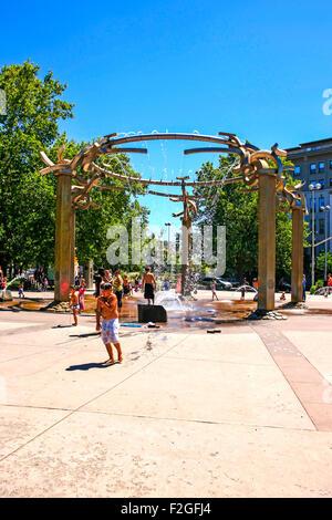 The Riverfront Park Rotary Fountain on Howard Street at the South entrance to Riverfront Park in Spokane Washington - Stock Photo