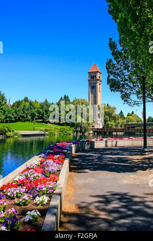 The Great Northern clock tower and U.S. Pavilion in Riverfront Park, Spokane in Washington - Stock Photo