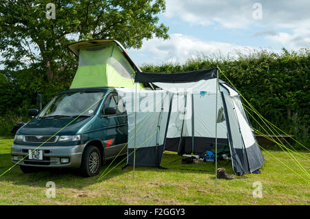 A Mazda Bongo Campervan With Side Awning On Camp Site Near Sneaton Whitby