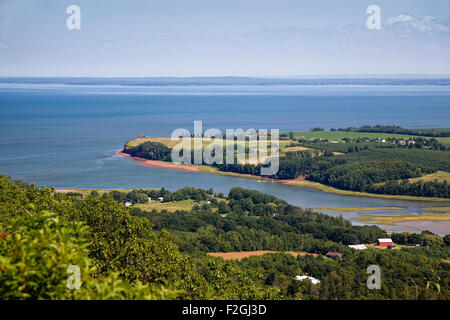 View of the Annapolis Valley and the shores of the Bay of Fundy in rural Nova Scotia, Canada. - Stock Photo