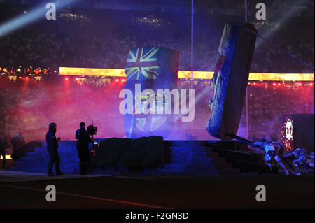 London, UK. 18 September 2015: The Opening Ceremony of the Rugby World Cup 2015 between England and Fiji, Twickenham - Stock Photo