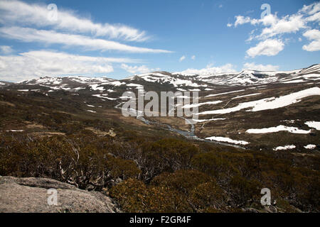 View over Snowy River and Main Range Track Charlotte Pass Kosciuszko National Park Snowy Mountains New South Wales - Stock Photo