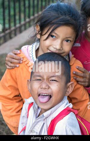 Laotian kids, Luang Prebang, Laos - Stock Photo
