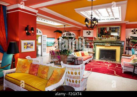 Florida, FL, South, Delray Beach, East Atlantic Avenue, Colony Hotel, interior, lobby, decor, design, colorful, - Stock Photo