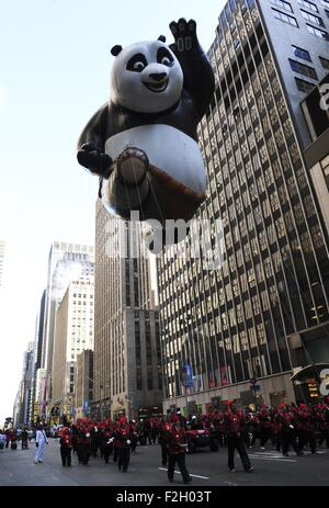 The Kong Fu Panda balloon floats in the 86th Macy's Thanksgiving Day Parade in New York, the United States, Nov. - Stock Photo