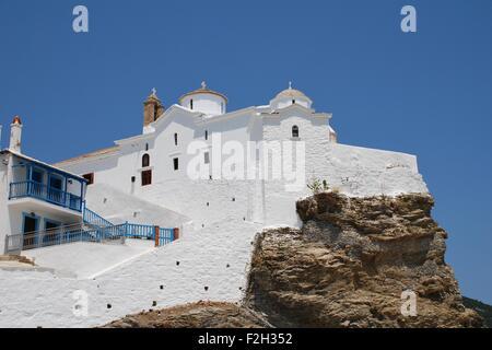 The church of Panagia tou Pyrgou in Skopelos Town on the Greek island of Skopelos - main location of the 2008 film - Stock Photo