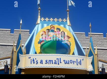 Sign for Its a Small World ride in Disneyland, Florida, USA - Stock Photo