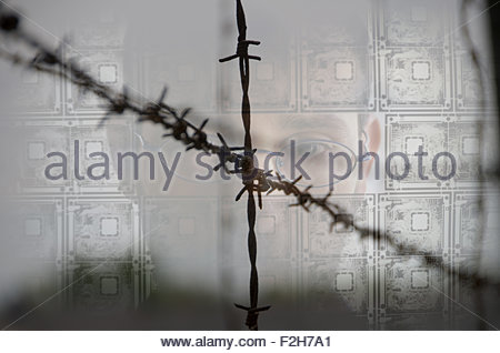 A person looking through transparent electric circuit board and barbed wire - Stock Photo