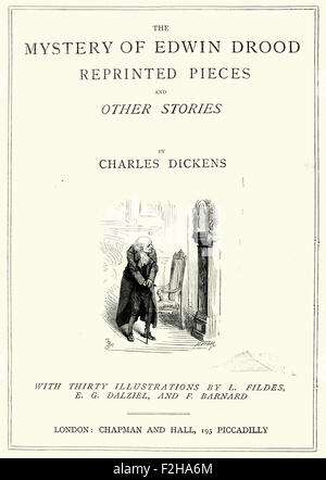 Title page of The Mystery of Edwin Drood by Charles Dickens - Stock Photo
