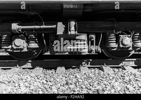 Train Wheels Black and White - Stock Photo