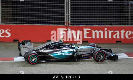 Singapore, SINGAPORE, 19 September 2015. Nico Rosberg (of Germany and Mercedes AMG Petronas F1 Team) claimed sixth - Stock Photo