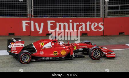 Singapore, SINGAPORE, 19 September 2015. Sebastian Vettel (of Germany and Scuderia Ferrari) claimed Pole Position - Stock Photo