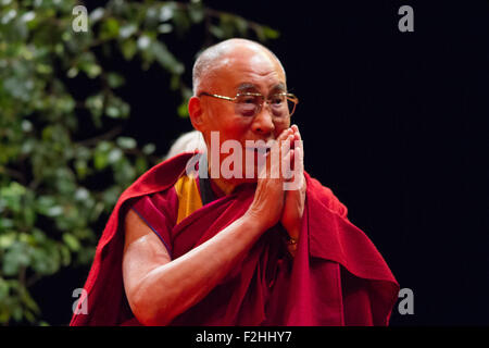London,Uk  19 September 2015. His Holiness Dalia Lama during his appearance in O2 Arena, UK. Credit:  Pete Lusabia/Alamy - Stock Photo