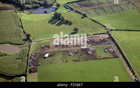 aerial view of a pig farm in Yorkshire, UK - Stock Photo