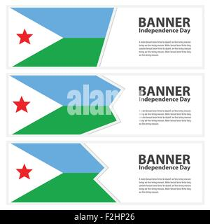 djibouti Flag banners collection independence day - Stock Photo