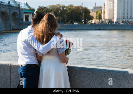 Moscow, Russia. Saturday, Sept. 19, 2015. Warm weekend. It is comfortable to be outdoors. All you need is love. - Stock Photo