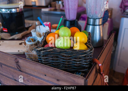 Moscow, Russia. Saturday, Sept. 19, 2015. Warm weekend. It is comfortable to be outdoors. Fresh fruits in a snack - Stock Photo