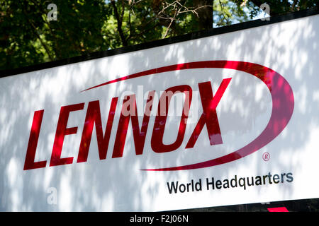 A logo sign outside of the headquarters of Lennox International Inc., in Richardson, Texas on September 12, 2015. - Stock Photo