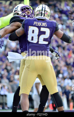 Seattle, WA, USA. 19th September, 2015. in action against the Utah State Aggies at Husky Stadium in Seattle, WA.Washington - Stock Photo