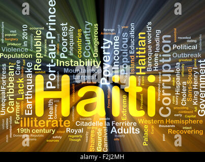 Background concept wordcloud illustration of Haiti glowing light - Stock Photo