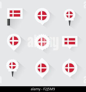 denmark  flag and pins for infographic, and map design - Stock Photo