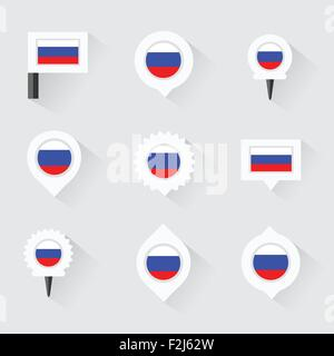 russia flag and pins for infographic, and map design - Stock Photo