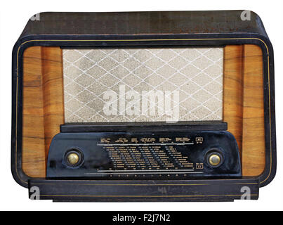 Vintage Old Wooden Tuner Radio Isolated on White Background with Clipping Path - Stock Photo