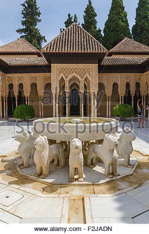 Patio de los leones. Court of lions. Alhambra de Granada. Unesco monument. Granada, Andalusia, Spain - Stock Photo