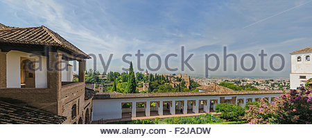 Panoramic view of alhambra de granada as seen from generalife palace. Granada, Andalusia, Spain - Stock Photo