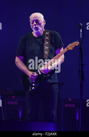Oberhausen, Germany. 19th Sep, 2015. British musician David Gilmour performs on stage during his concert in Oberhausen, - Stock Photo