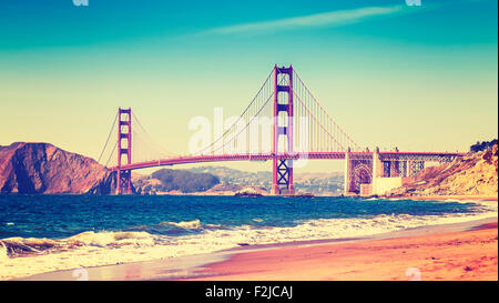 Retro style photo of Golden Gate Bridge, San Francisco, California, USA. - Stock Photo