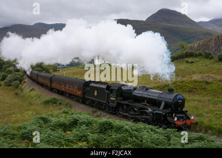 The Jacobite Steam Train travelling from Fort William to Mallaig in the west highlands of Scotland in the UK - Stock Photo