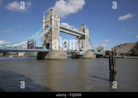 tower bridge crossing the river thames in  london england - Stock Photo