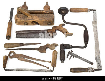 Old Carpenter Tools on White Background - Stock Photo