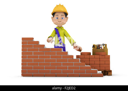 Business Metaphor A Man With Trowel Building Brick Wall