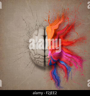 Creative mind or brain illustrated with colourful paint splatter and dispersion. Conceptual computer artwork. - Stock Photo