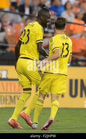 Washington, DC, USA. 19th Sep, 2015. 20150919 - Columbus Crew SC forward Kei Kamara (23) celebrates with teammate - Stock Photo