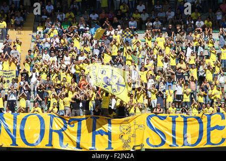 Verona, Italy. 20th September, 2015. Chievo Verona's fans during the Italian Serie A football match between AC Chievo - Stock Photo
