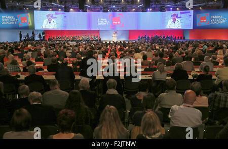 Leipzig, Germany. 20th Sep, 2015. German Chancellor Angela Merkel speaks during the nationwide congress of German - Stock Photo